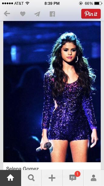 jumpsuit romper glitter purple glitter colour selena