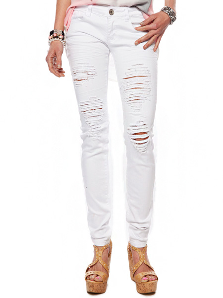 Clothing Online :: DISTRESSED WHITE SKINNY JEANS
