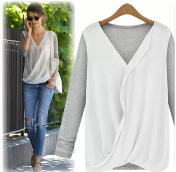 shirt white long sleeve jeans cute blouse wrap top wrap blouse long sleeve shirt grey black wrap shirts v neck blouse beige top cute tops summer to fall wrap shirt two tone two tone shirts v neck top pink flesh top flesh tone long sleeve top long sleeve blouse cute shirts cute outfits transparent shirt celebrity style celebrity ootd lotd sporty style celebrities celebrity style steal streetwear streetstyle street fashion street clothing street  style high street style high street fashion black top black blouse black shirt beige top beige shirt beige blouse large top