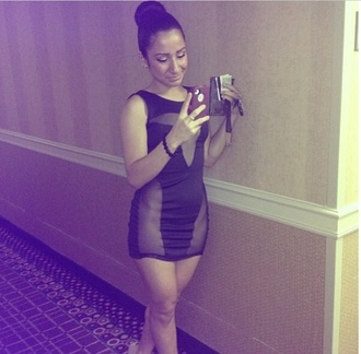 dress little black dress see through short dress high bun tight fitting miami