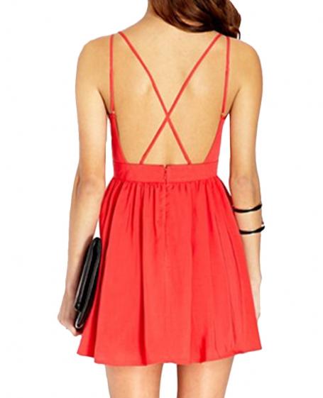 Neck pleated backless chiffon straps dress