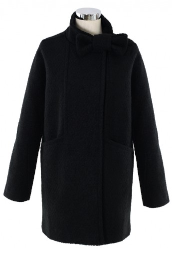 Wool-Felt Tweed Coat with Bowknot in Black - Retro, Indie and Unique Fashion