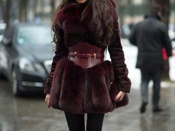 coat burgundy faux fur coat belt fall coat winter coat fashion
