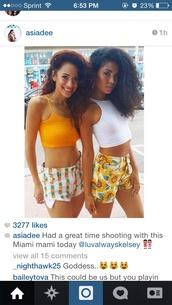 shorts,pineapple,white