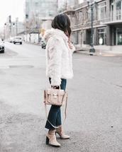 jacket,tumblr,white jacket,fur jacket,white fur jacket,denim,jeans,blue jeans,cropped bootcut jeans,cropped bootcut blue jeans,cropped jeans,boots,nude boots,bag
