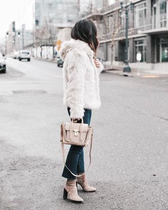 jacket tumblr white jacket fur jacket white fur jacket denim jeans blue jeans cropped bootcut jeans cropped bootcut blue jeans cropped jeans boots nude boots bag