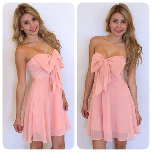 dress pink strapless now cute dress pink dress girly pretty bow bow dress pastel