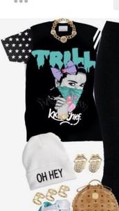 top,trap,trill,black,blue,gangsta,white,shirt
