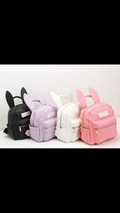 bag,backpack,bunny ears,kawaii,bunny,pastel,top,any color but exact bag pleaseee,easter,bunny bagpack girly bagpack,bunny bag,pastel pink,pastel purple,pastel white,kawaii bag,school bag,black,white,purple,pink,cute,mini bookbag,pastel bag,bookbag,bunny ears backpack,bunny backpack,kawaii grunge,kawaii outfit,colorful,black bag,cute bag,purple bag,cut off shorts,bubby,purse