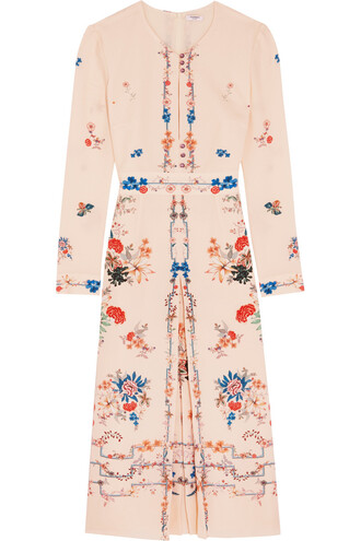 dress floral print silk white