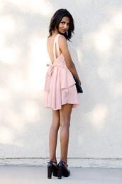 dress,pale pink dress,Bow Back Dress,low back dress