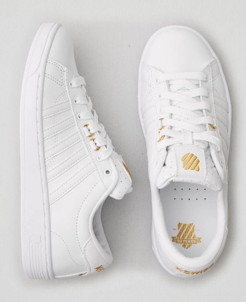 shoes white with gold k swiss