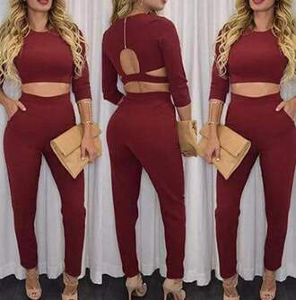 romper combi combinaison pants crop tops red sexy glamour party classic funny two-piece summer winter dress
