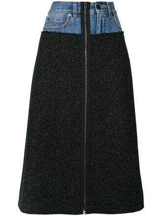 skirt denim women cotton black wool