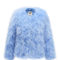 Fluffy fur fever jacket cerulean blue - pellobello