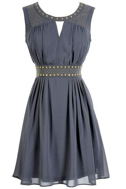 dress metallic button design grey dress