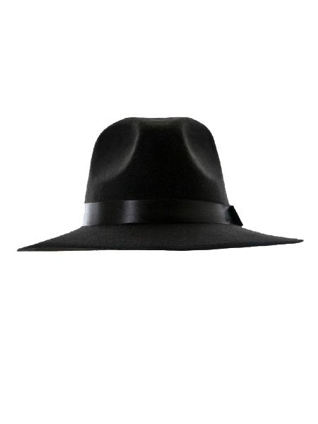 Black felt fedora (women or men)