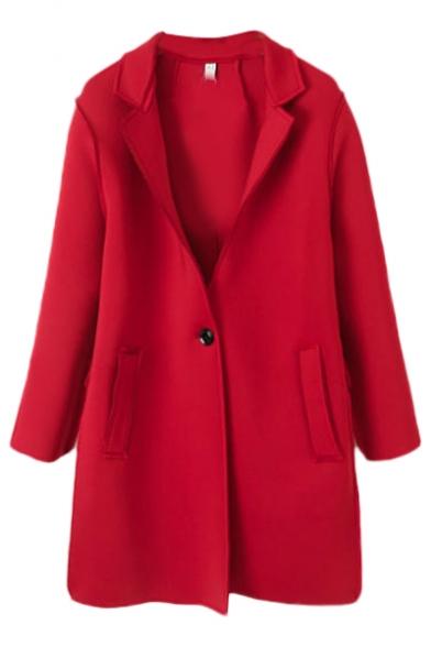 Plain notched lapel single button tunic blazer