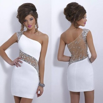 dress white classy diamonds short dress transparent one shouder on one one shoulder dress prom dress