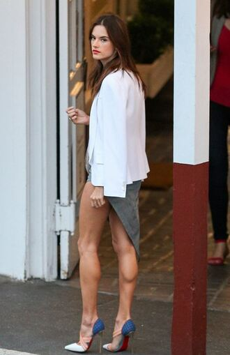 skirt asymmetrical asymmetrical skirt high low alessandra ambrosio pumps blazer