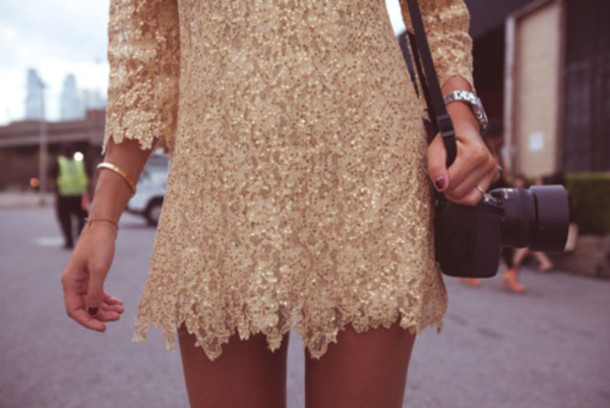 embroidered dress embroiderry dress sequin dress gold dress long sleeves long sleeve dress dress 3/4 sleeve dress short golden dress embellished dress sequins prom dress glitter dress beige dress lace dress mini dress gold