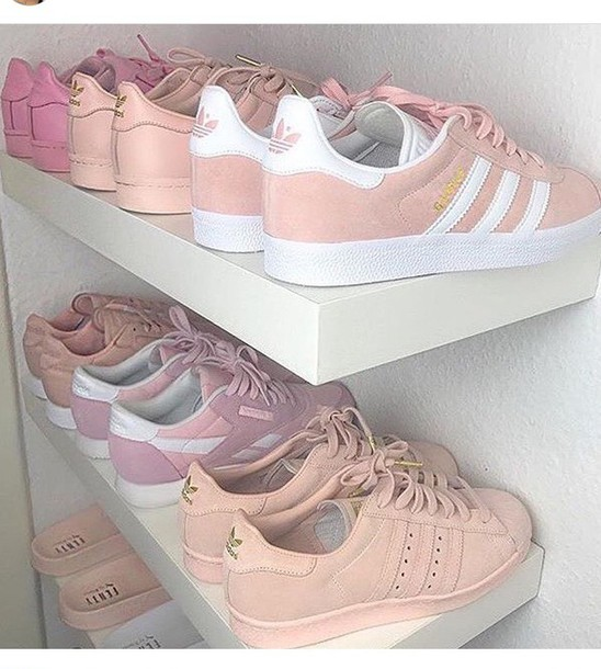 shoes, nude, pink, adidas, light pink, suede leather, pink sneakers, nude  sneakers, adidas superstars, adidas originals, adidas shoes, pale pink shoes,  ...