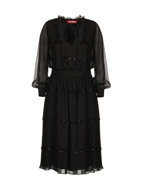 Max Mara Studio Ruffled Dress in nero