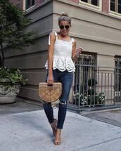 top,tumblr,white top,eyelet detail,eyelet top,bag,basket bag,denim,jeans,skinny jeans,blue jeans,sandals,sandal heels,shoes