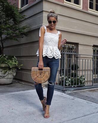 top tumblr white top eyelet detail eyelet top bag basket bag denim jeans skinny jeans blue jeans sandals sandal heels shoes