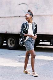 vanessa jackman,blogger,jacket,shoes,embellished leather jacket