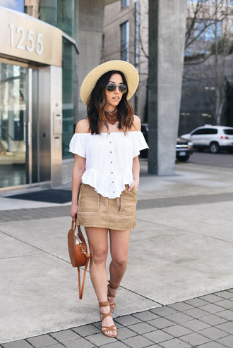 crystalin marie blogger t-shirt skirt hat bag shoes tumblr top brown bag sun hat mini skirt nude skirt white top off the shoulder off the shoulder top sandals round bag spring outfits