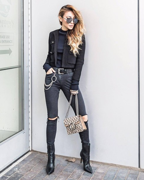 a7e43fff66d jacket tumblr black jacket cropped jacket top black top turtleneck black  turtleneck top denim jeans black