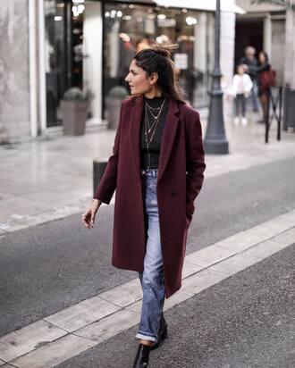 coat tumblr purple coat denim jeans blue jeans top black top fall outfits