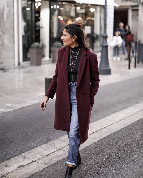 coat tumblr purple coat denim jeans blue jeans top black top fall outfits