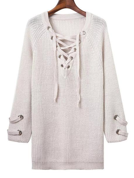sweater fashion white falll long sleeves criss cross lace up knitwear zaful