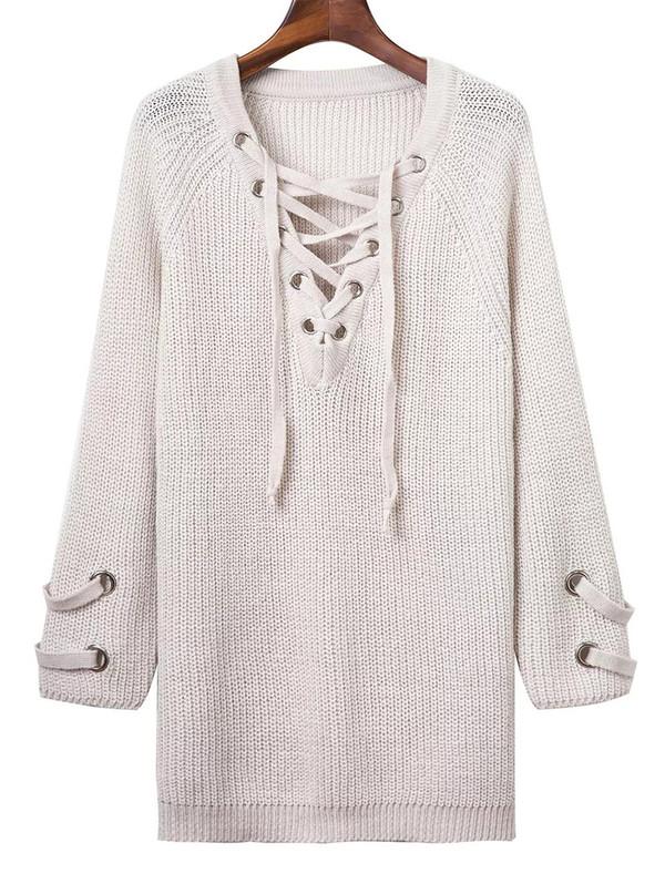 sweater fashion white falll long sleeves criss cross knitwear zaful