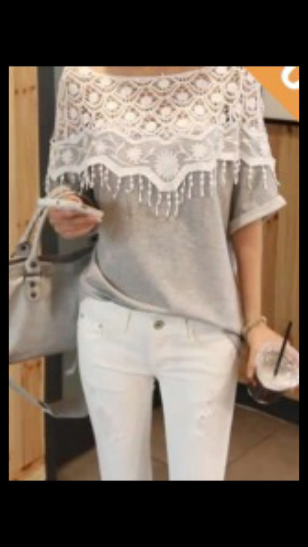 grey white crochet sweater shirt fashion girl blouse
