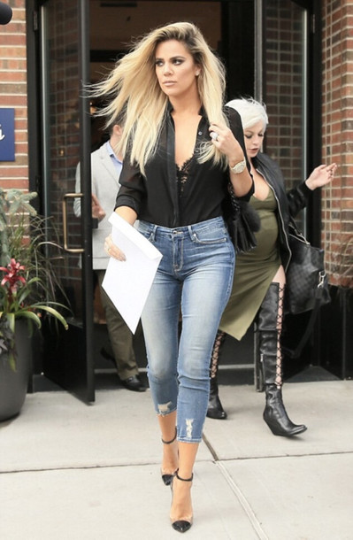 Shoes jeans shirt streetstyle fall outfits khloe kardashian kardashians blouse - Wheretoget