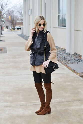 straight a style blogger jacket sweater leggings bag vest fur vest shoulder bag thigh high boots boots brown boots beige sweater winter outfits black fur vest