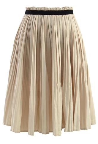 waist skirt nude pleated contrast trimmed