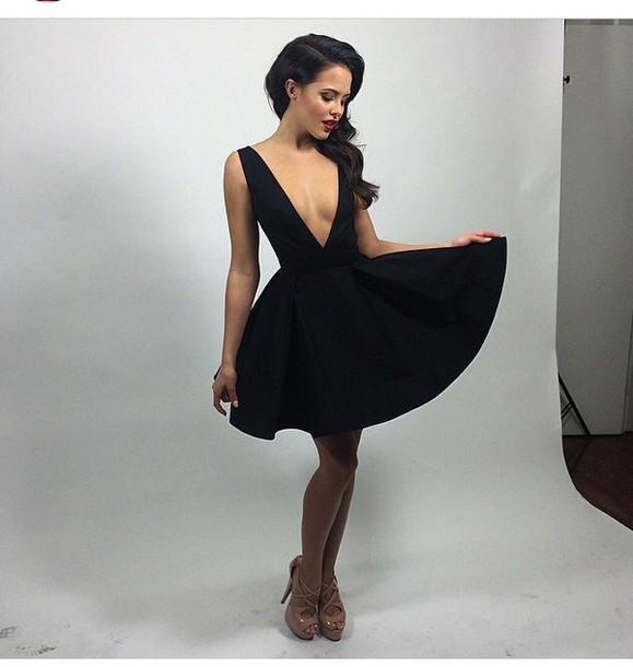 dress peplum outfit black dress high heels heels shoes fashion style v neck dress