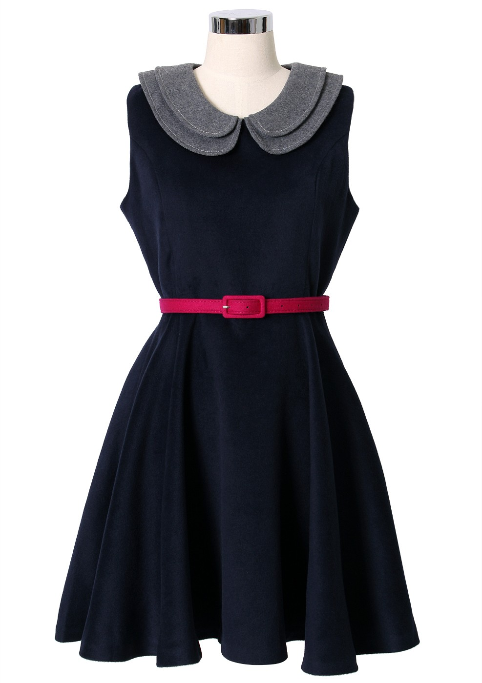 Navy blue belted dress with
