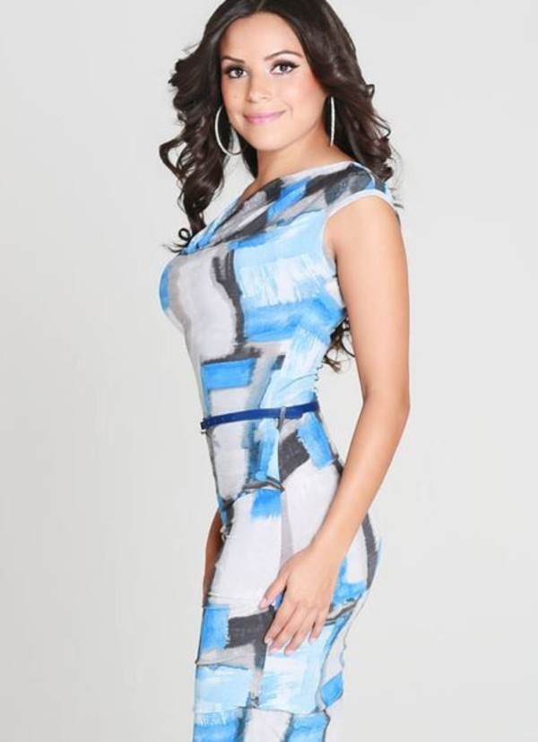 blue and gray dress geometric print cowl neck dress belted dress blue print dress www.ustrendy.com midi pencils elegant