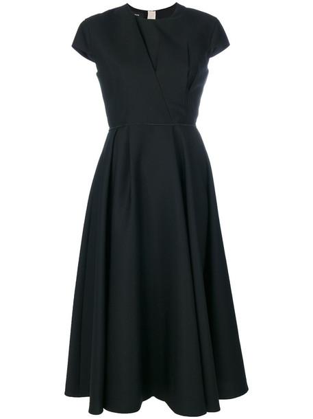Rochas dress draped dress women draped black silk wool