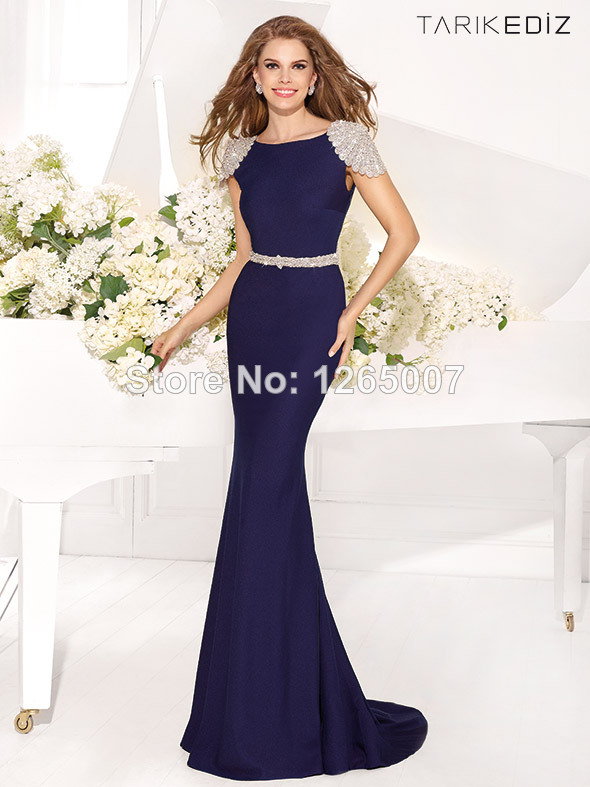 Aliexpress.com : Buy New Arrival Round O Neck Short Sleeves Nice Embellishment Beaded Open Back Mermaid Evening Dresses New Fashion Formal Dresses from Reliable dress up pencil skirt suppliers on SFBridal