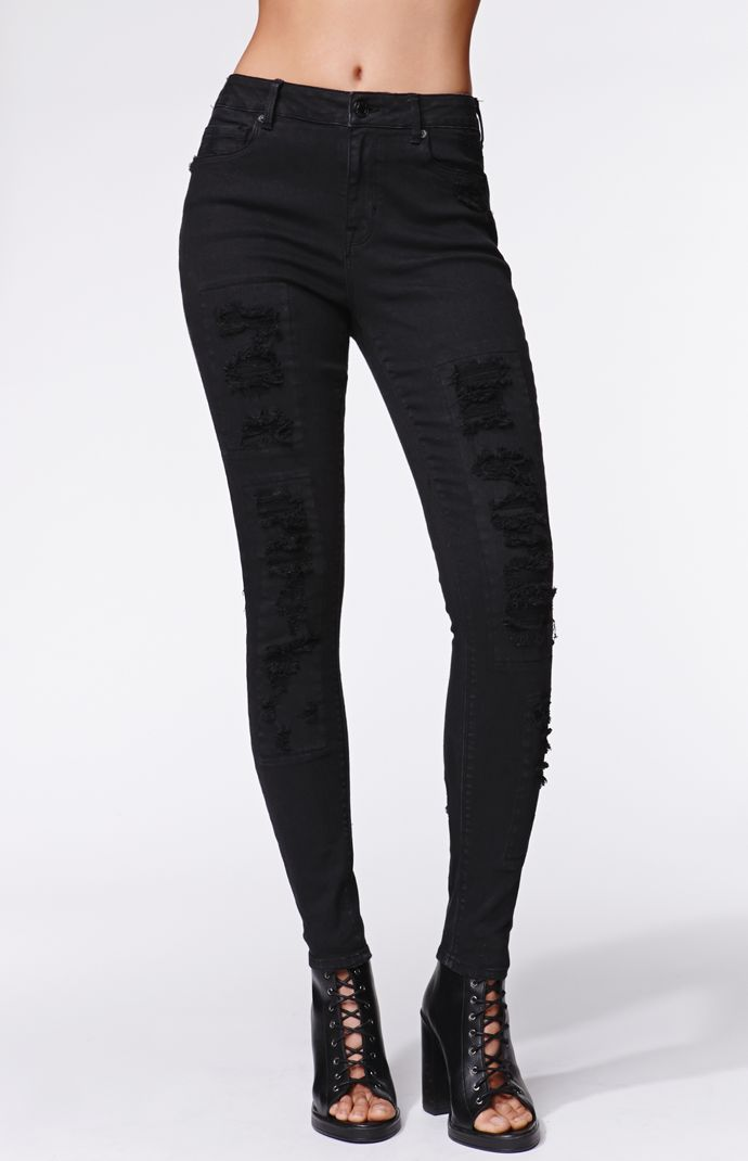 Kendall and kylie high rise skinniest patch and repair jeans at pacsun.com