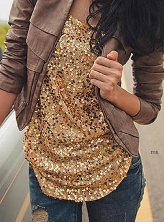 blouse gold sequins
