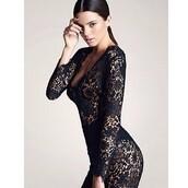 dress,bodysuit,kendall jenner,black,lace,floral
