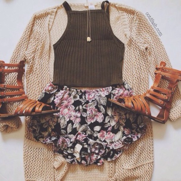 cardigan jewels shoes shorts tank top