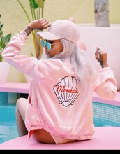 jacket,pink bomber jacket,bomber jacket,cap,sunglasses,pink jacket,mermaid,pink hat,satin bomber,all pink everything,pink baseball hat